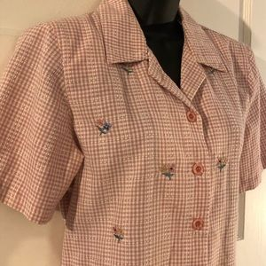 Alfred Dunner Pink Floral Button Down